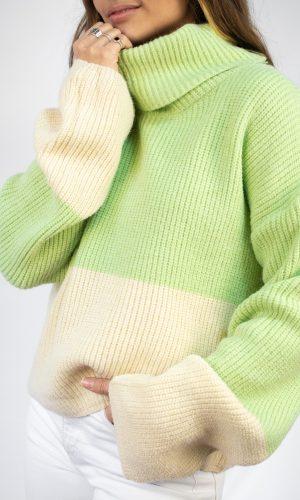 Sweater Combinado, verde aqua