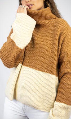 Sweater Combinado, marrón