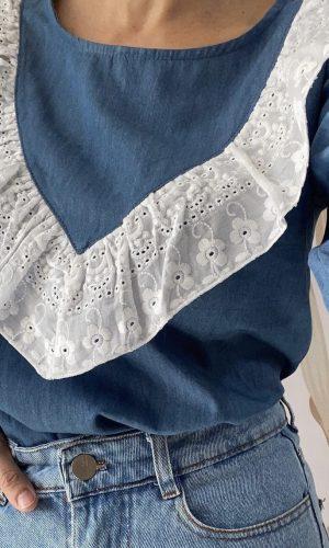Blusa jean + broderie