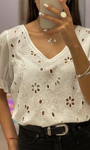 Blusa Broderie, blanca