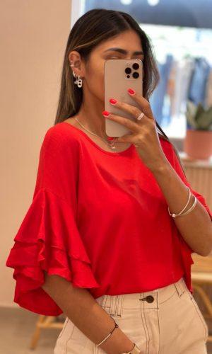Blusa volado roja